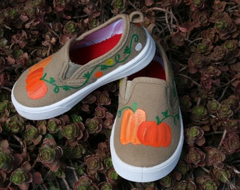 Hand PAINTED SHOES,  Fall Shoes, Pumpkin Shoes, Thanksgiving, Baby/Toddler, Child/Youth, and Womens Sizes