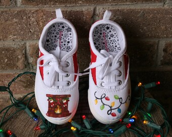 CHRISTMAS SHOES, Hand Painted Shoes, Christmas light shoes, Toddler Child and Youth SIzes
