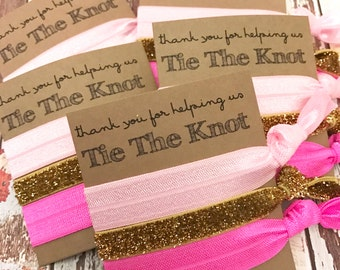 Bridesmaids Gift  Hair Ties // Thank you for helping us tie the knot - Wedding Favors - Hair Tie Favor - Bridal Party Favors - The Knot