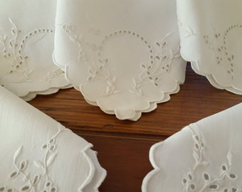 Vintage Embroidered Napkins Set (12) Pure White and Embroidered