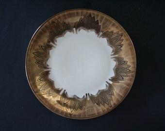 "Elfenbein Bavaria Porzellan 104 Plate, Gold Black Art Deco Style Porcelain Plate, 7 1/2"" Dessert Plate, German FIne China Porcelain Plate"
