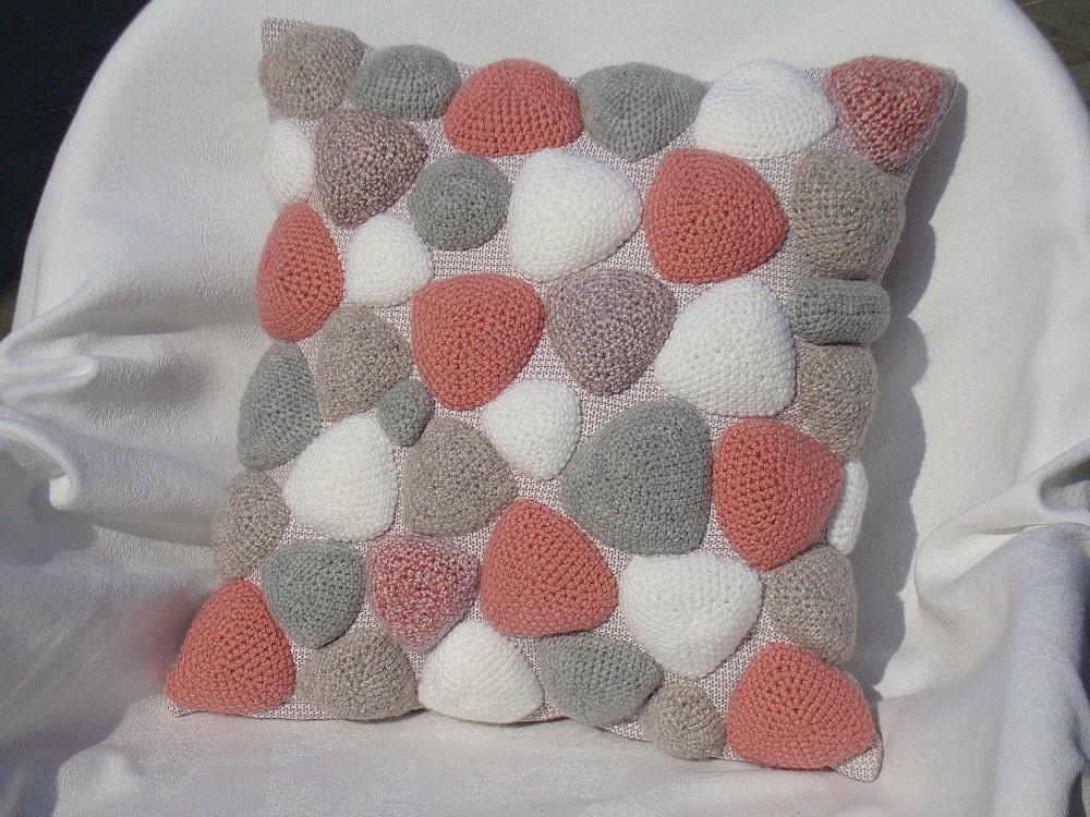 Grey Knit Throw Pillow : Crochet pillow knit sofa cushion pink grey throw pillow gift