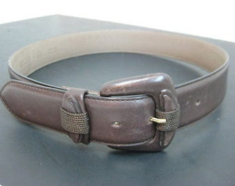 Vintage Claudio Orciani Nordstroms Chocolate Brown Leather Belt Size 32