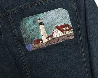 Portland Head Denim Jacket - Maine Denim Jacket - Maine jacket - Portland jacket - Lighthouse jacket -  Lighthouse apparel - women's