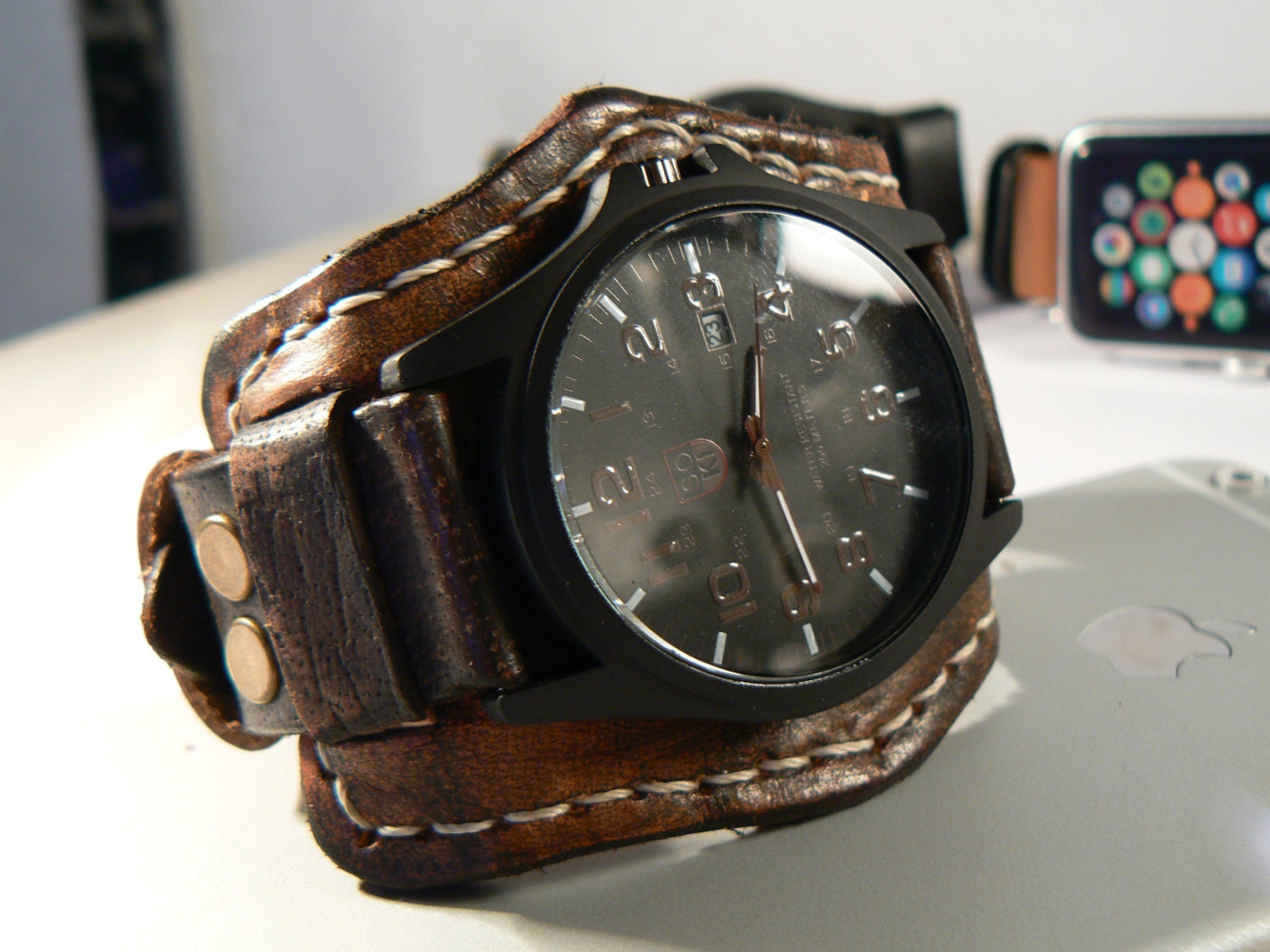 Steampunk leather wrist watch mens watch leather cuff for Leather watch for men