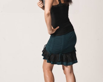 Womens Little stretch Skirt-  festival| victorian| burning man| lace| ruffles|