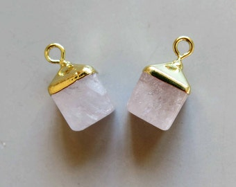 Quartz Crystal Cube Pendant with Golden Edge - B1097