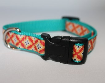 Turquoise and Orange Dog Collar for Medium/Large dogs