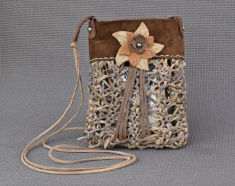 Brown and beige leather purse, leather flower bag, small crossbody bag, beige boho purse, iphone pouch