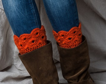 Rust Orange boot cuffs/ handmade boot cuffs/ crochet leg warmers/ rust orange boot toppers/ tall boot socks women teen girls accessories