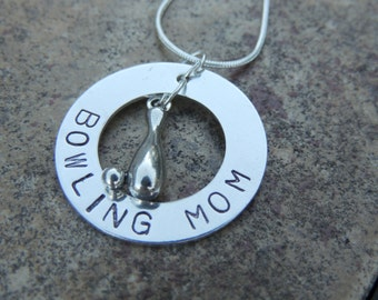 Hand Stamped Personalized BOWLING MOM necklace custom jewelry Sports jewelry