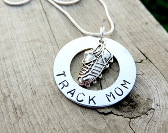 Personalized Hand Stamped TRACK MOM necklace custom jewelry Sports jewelry team