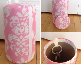 READY TO SHIP-Headband Holder.  Hair Accessory Organizer. Pink and White. Damask. Toilet Papet Holder