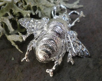 Silver Plated Stamping Baby Bumble Bee Bug