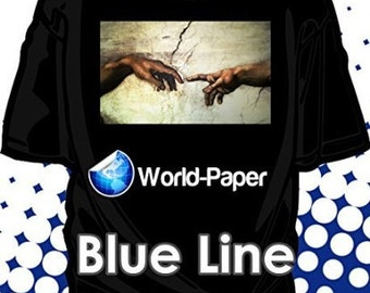 "Inkjet Iron-On Heat Transfer Paper, For Dark fabric. -Blue Line- 10 Sheets - 8.5"" x 11"