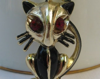 Unique Kitty Cat Brooch, Black Enameled Gold Metal, Whiskers, Red Rhinestone Eyes, Mid Century Vintage!