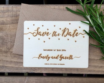 SAVE THE DATE // Confetti Love Hearts // Engraved Wood // A7 (74 x 105mm // Wedding Stationery