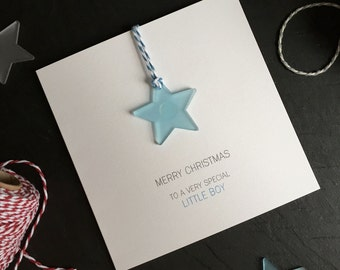 Merry Christmas to a Very Special Little Boy // Christmas Card with Frosted Perspex Star Tree Decoration