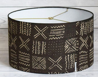 Mudcloth Printed 14 Inch Drum Lampshade