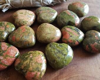 Unakite Heart ~ One Reiki infused 30mm gemstone heart
