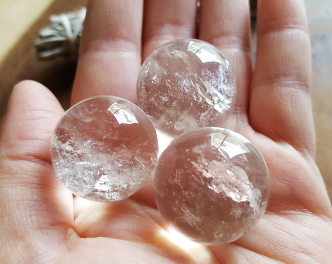 Clear Quartz Sphere ~ One Reiki infused crystal ball, marble approx 24-26mm