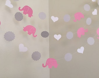 Pink and Gray Elephant Baby Shower Decorations Elephant Garland Elephant Nursery Decoration Elephant Birthday Decoration Custom Colors 10ft