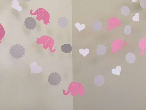 pink and gray elephant baby shower decorations elephant garland