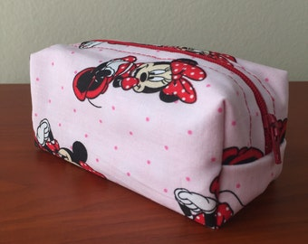 Minnie Mouse Boxy Change Purse, Coin Purse, Change Pouch, Coin Pouch, Polka Dots, Pink