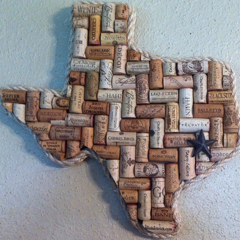 Wine Cork Art: Texas Or Any State Wine Cork Art