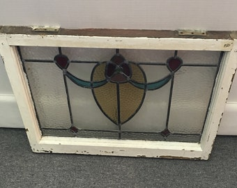 Vintage Stained Glass Window 2.3' x 1.9'