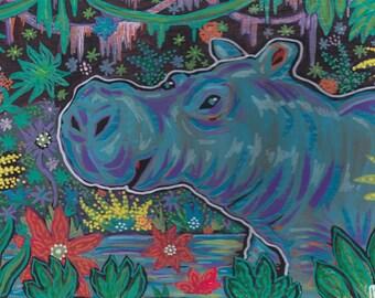 "Hip Hippo 14"" x 10"" original painting"