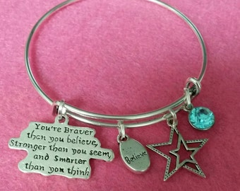 Inspirational bangle Affirmation...You are Braver than you believe
