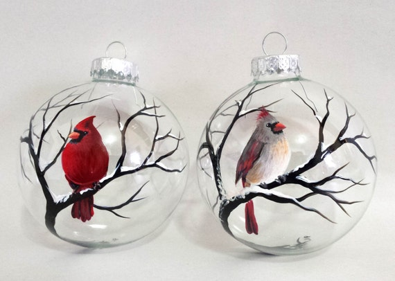cardinal ornaments hand painted glass red bird female and male. Black Bedroom Furniture Sets. Home Design Ideas