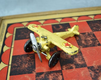 Cast Iron Radial Engine Airplane Toy - Single Prop Buttery Yellow