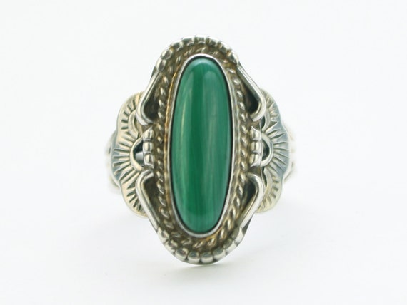 Vintage 1940s Art Deco Silver Ring -  Size 7 1/2 - Sterling Silver Cocktail Ring