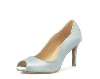 Blue Rose Custom Made Lower Heel, Baby Blue Satin Lower Heels, Custom Made Lower Heel, Something Blue Peep Toe Pumps