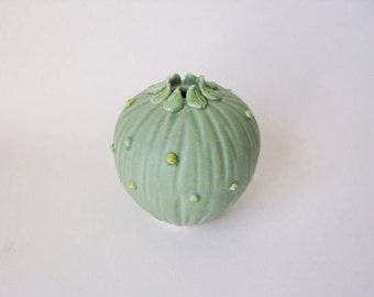 Mint green ceramic vase / pastel green botanical inspired porcelain vassel by echo of nature