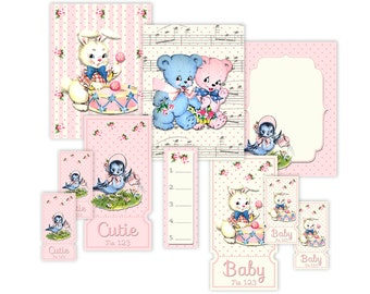 Shabby chic baby animals tickets, tags, cards / printable collage sheet / digital scrapbook embellishments / instant download / 3 x 4