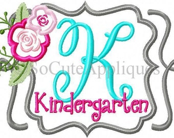 K Kindergarten Flower!! Embroidered Shirt/Bodysuit/Burp Cloth/Hand Towel!