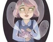 Ghost Amethyst Girl Print - Creepy Cute Illustration