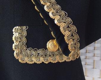 Vintage ABS Allen Schwartz Black Wool Military Sgt Pepper Gold CREST Buttons Braid Sequins Glam Rock Blazer Jacket S/M SALE