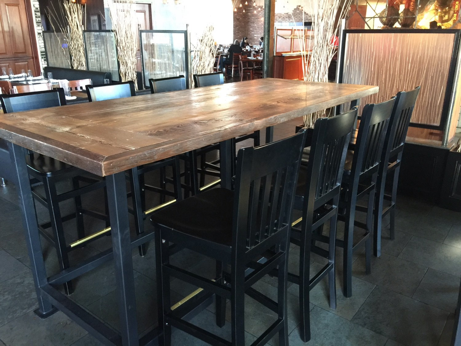 Reclaimed wood dining top9ft x 42dining for On the table restaurant