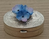 Small Vintage sterling silver box with forget-me-not china flowers