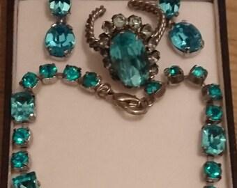 Vintage blue Czech glass bracelet ,ring and earrings set