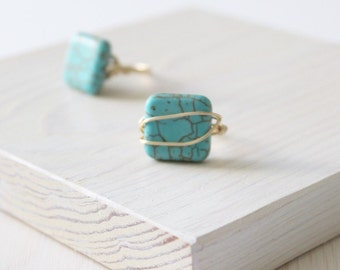 Turquoise Magnesite Square Gold Wire Wrapped Ring | Anti Tarnish Wire Ring