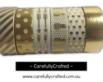 Foil Washi Tape - Set of 6 - Gold Washi Tapes - 15mm x 10 metres each - High Quality Masking Tape