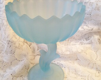 Free Shipping Vintage Frosted Blue Indiana Glass Company Lotus Compote Pedestal Bowl