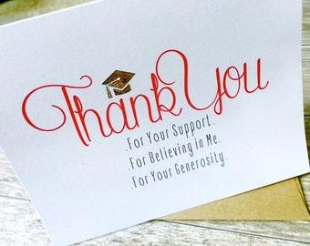 Graduation Thank You Cards / Graduation Note Cards: Set of 10 Metallic Foiled Thank You Note Cards / Graduation Gift / Thank You Stationery