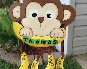 Monkey Birth Announcement (hospital door hanger)