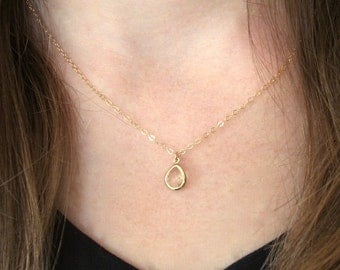 Crystal Teardrop Necklace, Cut Glass Teardrop Necklace, Gold Teardrop Necklace, Bridal Necklace, Crystal Necklace - 14K Gold-Filled Chain